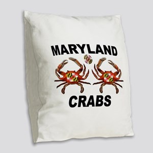 MARYLAND CRABS Burlap Throw Pillow