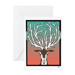 Red/Green Reindeer Greeting Card Merry Christmas