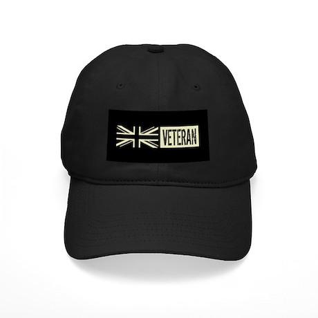 British Military Veteran Black Flag Baseball Hat By