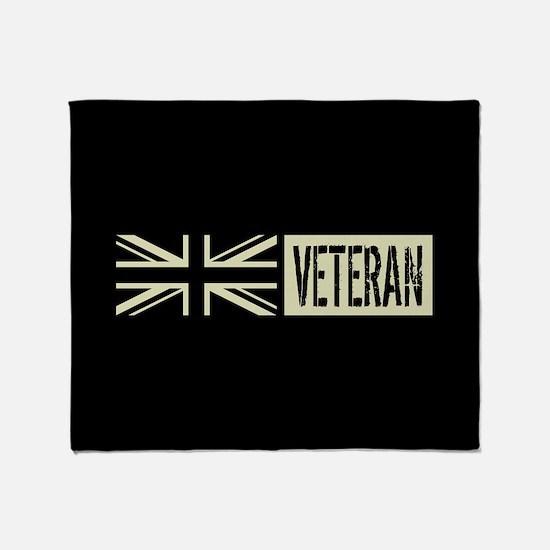 British Military: Veteran (Black Fla Throw Blanket