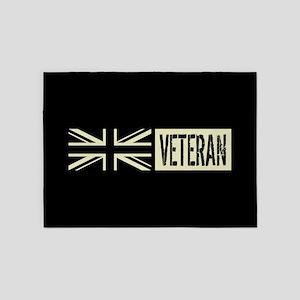 British Military: Veteran (Black Fl 5'x7'Area Rug