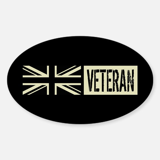 British Military: Veteran (Black Fl Sticker (Oval)