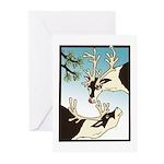 2 Reindeer & Pine Greeting Cards (10) Seasons Gree