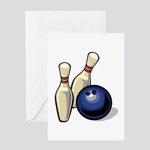 Bowling ball with pins Greeting Cards