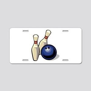 Bowling ball with pins Aluminum License Plate