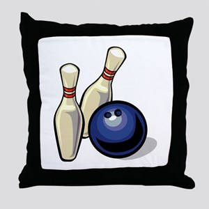 Bowling ball with pins Throw Pillow