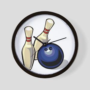 Bowling ball with pins Wall Clock
