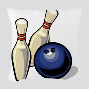 Bowling ball with pins Woven Throw Pillow