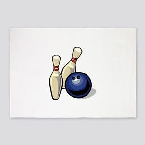 Bowling ball with pins 5'x7'Area Rug