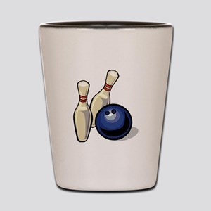 Bowling ball with pins Shot Glass