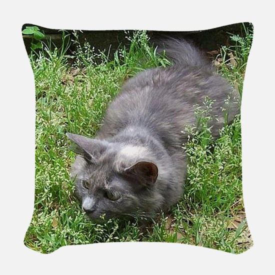 Dilute Tortie Cat Woven Throw Pillow