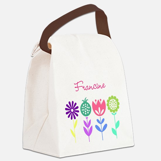 Personalized Spring Flowers Canvas Lunch Bag