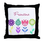 Personalized Spring Flowers Throw Pillow