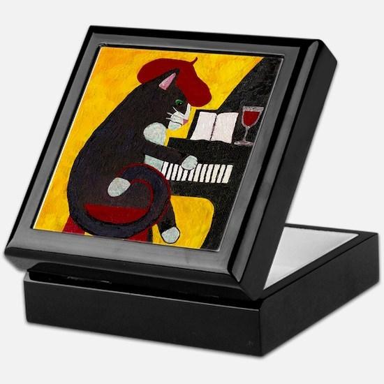 Tuxedo Cat and Piano Keepsake Box