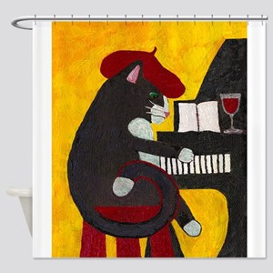 Tuxedo Cat and Piano Shower Curtain