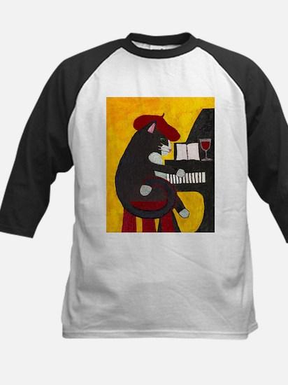 Tuxedo Cat and Piano Baseball Jersey