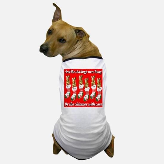 Six Christmas Stockings Dog T-Shirt