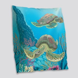 Sea Turtle Burlap Throw Pillow