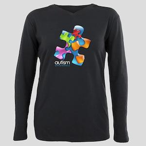 puzzle-v2-5colors-onblk. Plus Size Long Sleeve Tee