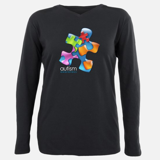 puzzle-v2-5colors-onblk. Plus Size Long Sleeve Tee