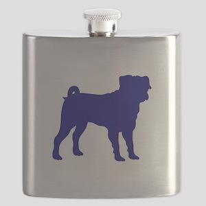 Pug Blue 1C Flask