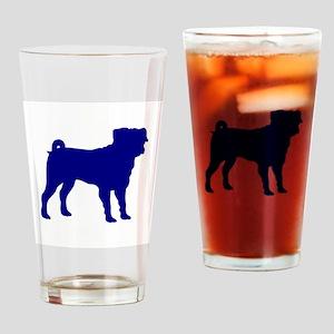 Pug Blue 1C Drinking Glass