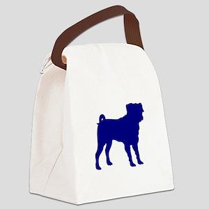 Pug Blue 1C Canvas Lunch Bag