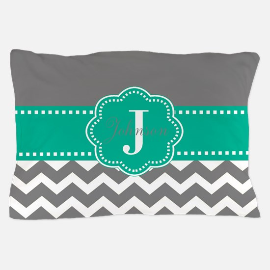 Gray Teal Chevron Personalized Pillow Case