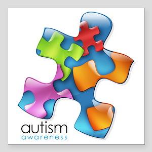 """puzzle-v2-5colors Square Car Magnet 3"""" x 3"""""""