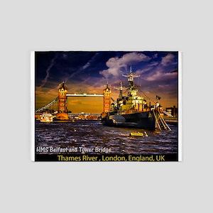 HMS Belfast and Tower Bridge 5'x7'Area Rug