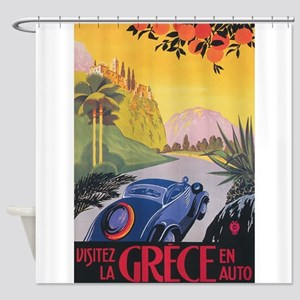 Greece Vintage Travel Poster Shower Curtain