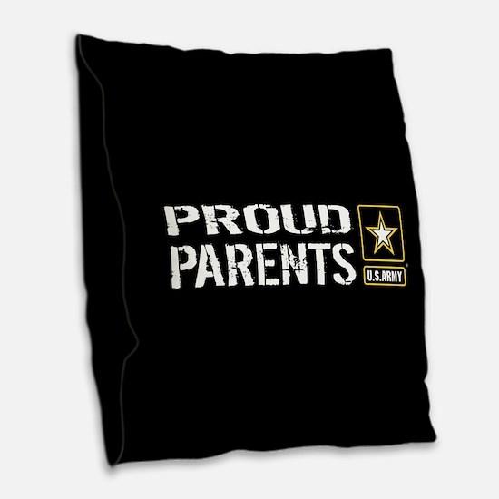 U.S. Army: Proud Parents (Blac Burlap Throw Pillow