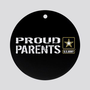 U.S. Army: Proud Parents (Black) Round Ornament