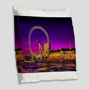 London Eye Burlap Throw Pillow