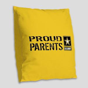 U.S. Army: Proud Parents (Gold Burlap Throw Pillow