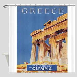 Greece, Parthenon, Vintage Travel P Shower Curtain