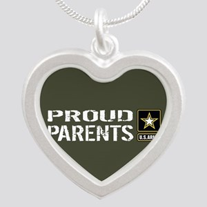 U.S. Army: Proud Parents (Mi Silver Heart Necklace