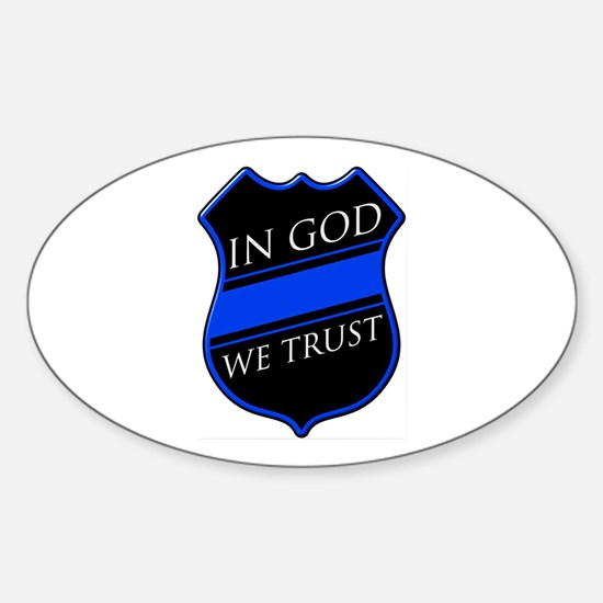 In God We Trust Blue Line Decal