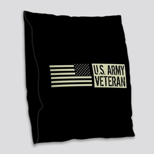 U.S. Army: Veteran (Black Flag Burlap Throw Pillow
