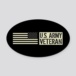 U.S. Army: Veteran (Black Flag) Oval Car Magnet