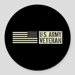 U.S. Army: Veteran (Black Flag) Round Car Magnet