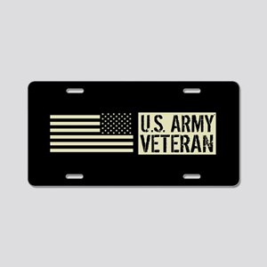 U.S. Army: Veteran (Black F Aluminum License Plate