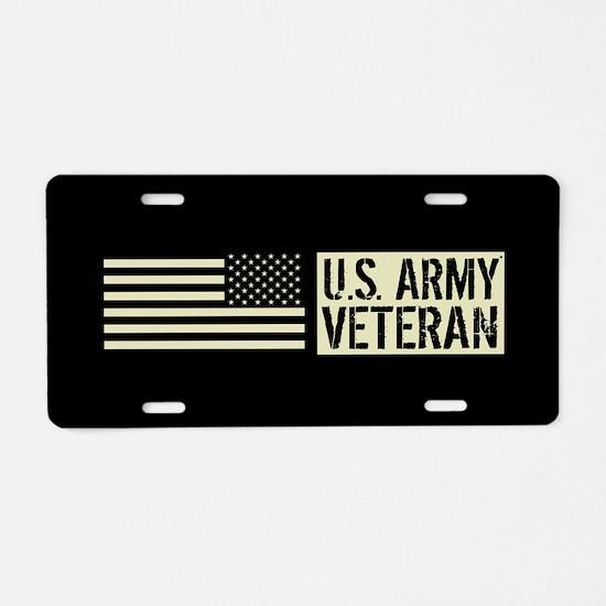 U.S. Army: Veteran (Black F Aluminum License Plate