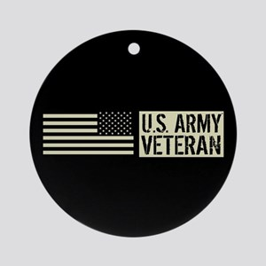 U.S. Army: Veteran (Black Flag) Round Ornament
