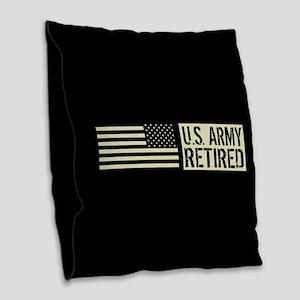 U.S. Army: Retired (Black Flag Burlap Throw Pillow