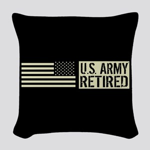 U.S. Army: Retired (Black Flag Woven Throw Pillow