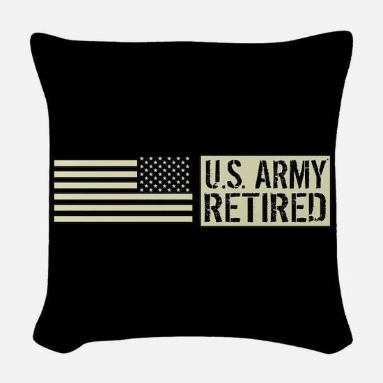U.S. Army: Retired (Black Flag Woven Throw Pillow