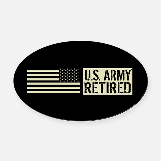 U.S. Army: Retired (Black Flag) Oval Car Magnet
