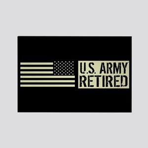 U.S. Army: Retired (Black Flag) Rectangle Magnet