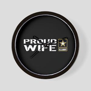 U.S. Army: Proud Wife (Black) Wall Clock